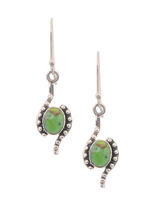 Silver Earrings with Green Turquoise