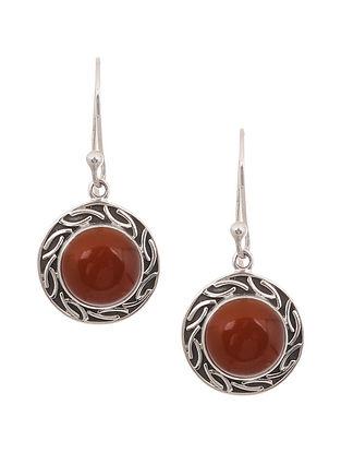 Silver Earrings with Garnet