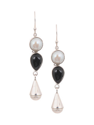 Silver Earrings with Pearls and Onyx