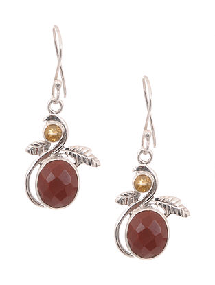 Silver Earrings with Jasper and Citrine