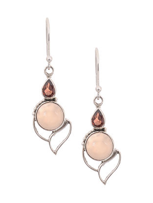 Silver Earrings with Pink Chalcedony