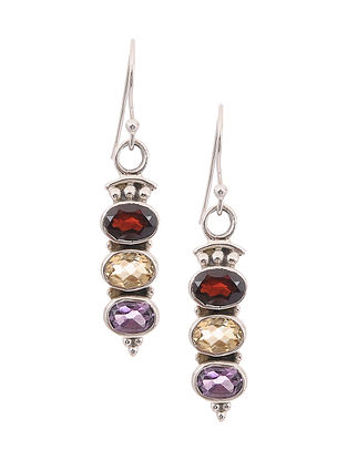Silver Earrings with Garnet and Citrine