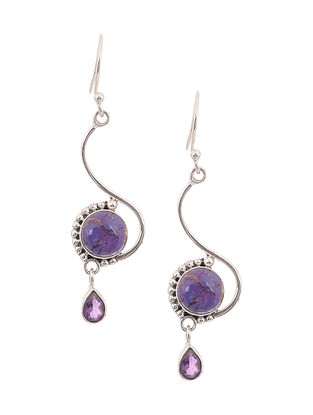 Silver Earrings with Turquoise and Amethyst
