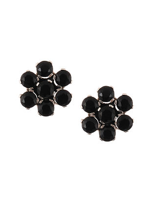 Silver Stud Earrings with Black Onyx