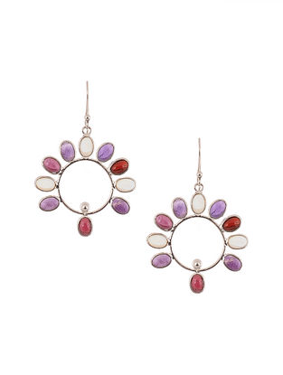 Silver Earrings with Garnet and Amethyst