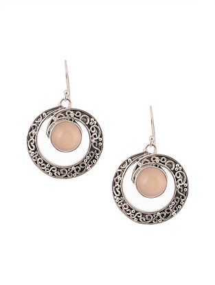 Silver Earrings with Pink Opal