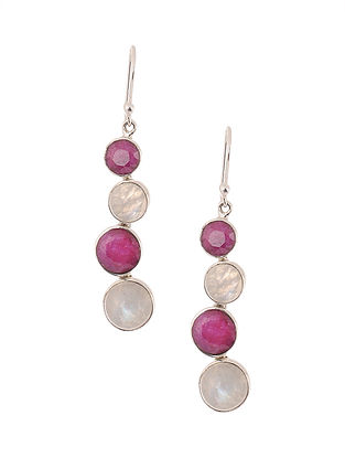 Silver Earrings with Rainbow Moonstone and Agate