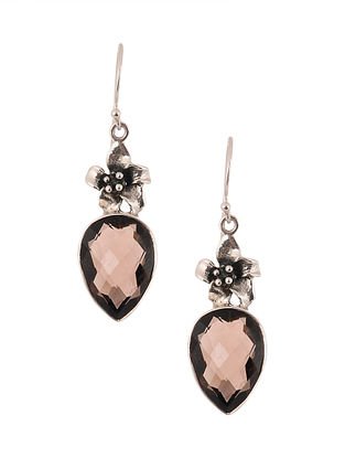 Silver Earrings with Smoky Quartz