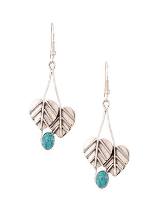 Silver Earrings with Calcite