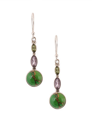 Silver Earrings with Green Turquoise and Amethyst