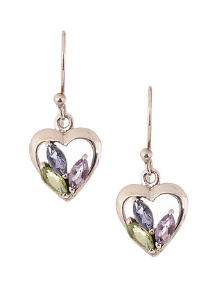 Silver Earrings with Iolite and Amethyst