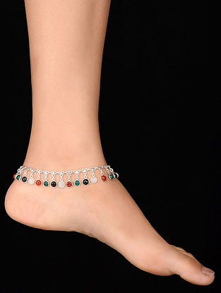 Multicolored Silver Anklet