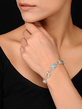 Silver Bracelet with Turquoise and Citrine