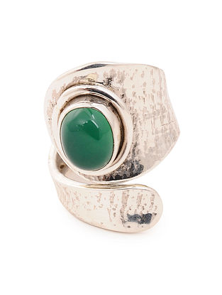Silver Adjustable Ring with Green Onyx