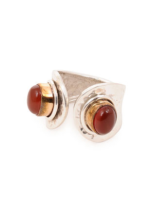 Dual Tone Silver Adjustable Ring with Carnelian