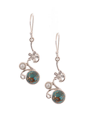 Silver Earrings with Turquoise and Freshwater Pearls