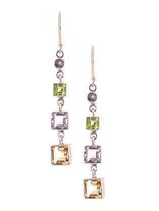 Silver Earrings with Citrine, Amethyst and Peridot