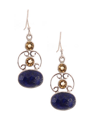 Silver Earrings with Lapis Lazuli and Citrine