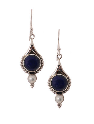 Silver Earrings with Lapis Lazuli and Freshwater Pearls