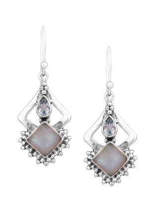 Silver Earrings with Rainbow Moonstone and Blue Topaz