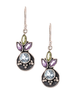 Silver Earrings with Blue Topaz, Amethyst and Peridot