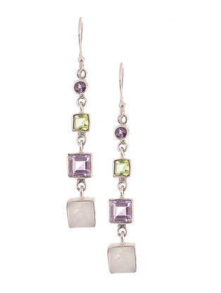 Silver Earrings with Rainbow Moonstone, Amethyst and Peridot
