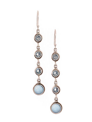 Silver Earrings with Blue Chalcedony and Topaz