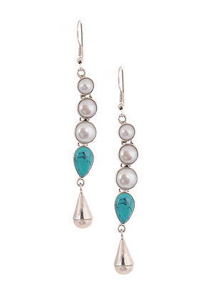 Silver Earrings with Calcite and Freshwater Pearls