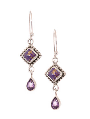 Silver Earrings with Purple Turquoise and Amethyst