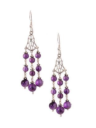 Silver Earrings with Amethyst