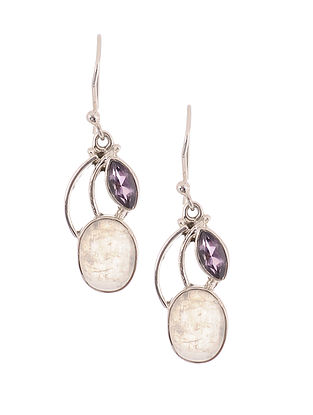 Silver Earrings with Rainbow Moonstone and Amethyst