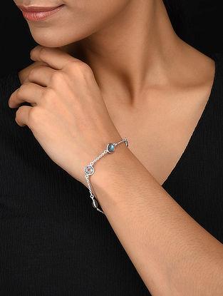 Silver Bracelet with Labradorite and Blue Topaz