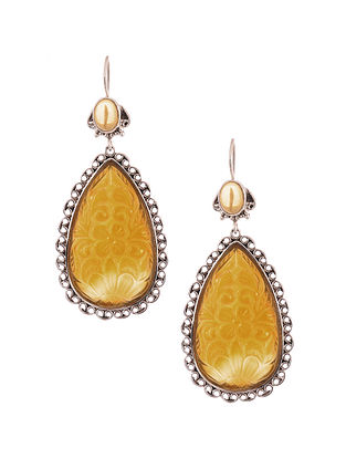 Silver Earrings with Yellow Chalcedony and Citrine