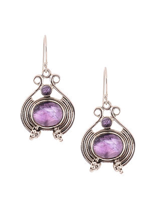 Silver Earrings with Amethyst and Freshwater Pearls