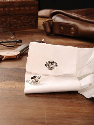 Garnet Handcrafted Silver Cufflinks