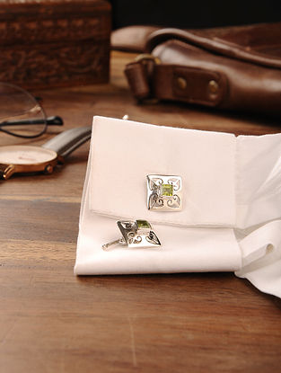 Peridot Handcrafted Silver Cufflinks