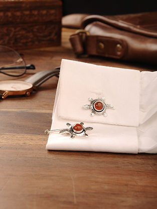 Carnelian Handcrafted Silver Cufflinks