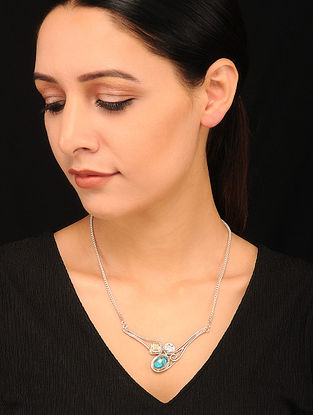Silver Pendant with Turquoise and Citrine