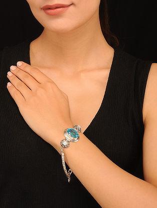 Silver Bracelet with Blue Crystal