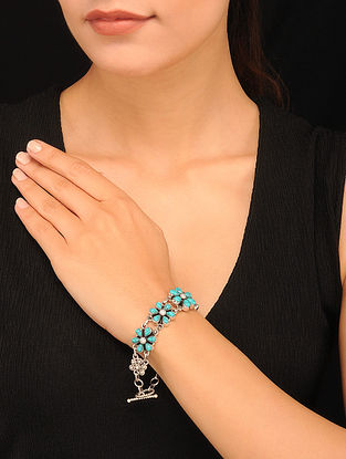 Silver Bracelet with Turquoise and Freshwater Pearls