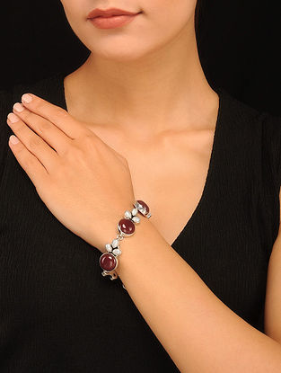 Silver Bracelet with Carnelian and Freshwater Pearls