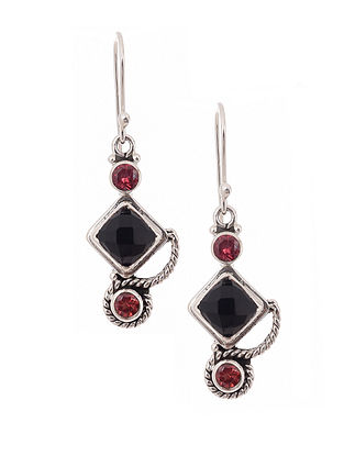 Silver Earrings with Garnet and Green Onyx