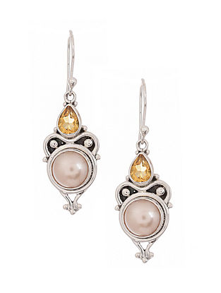 Silver Earrings with Freshwater Pearls and Citrine