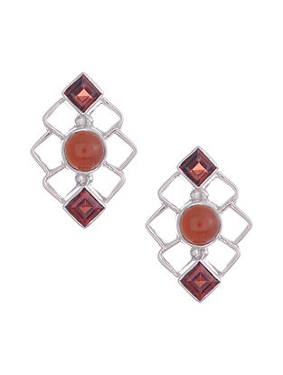 Silver Earrings with Carnelian and Garnet