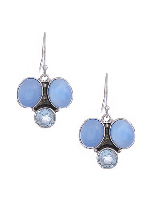 Silver Earrings with Blue Chalcedony and Blue Topaz