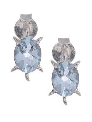 Silver Earrings with Blue Topaz