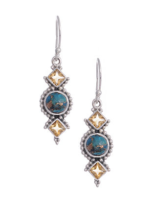 Silver Earrings with Turquoise and Citrine