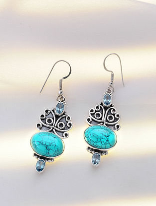 Silver Earrings with Calcite and Blue Topaz