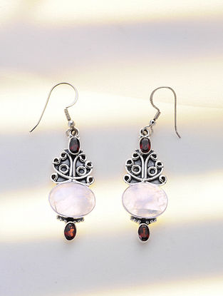 Silver Earrings with Rainbow Moonstone and Garnet