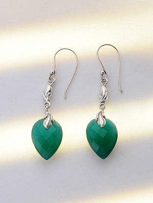 Silver Earrings with Green Onyx